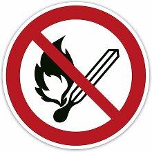 Verbot-Aufkleber 2 Stück - Keine offene Flamme;