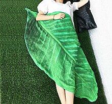 VERCART Trendige flauschige Kuscheldecke Schlafzimmer Draussen Mikrofaser-Decke Tagesdecke Wohndecke mit Blatt Stil