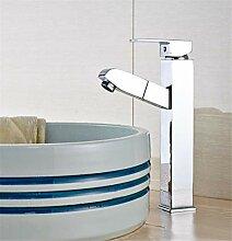 Verchromt Deck Waschbecken Wasserhahn Ziehen Warm