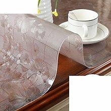 Verdicken Sie,Weichglas Kunststoff Tischdecke/Wasserdicht,Anti-hot,Ölbeständig,Einweg-tischdecke/PVC,Transparent,Matte Tisch Couchtisch Matte-H 80x120cm(31x47inch)