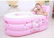 Verdickte doppelte aufblasbare Badewanne erwachsene Badewanne Kinderbad Plastikfaltwanne Badewanne ( Color : Pink , Size : S )