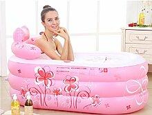 Verdickte erwachsene aufblasbare faltende Badewanne (Größe: 130 * 75 * 70 Cm) ( farbe : Pink Printing , größe : Electric Pump )