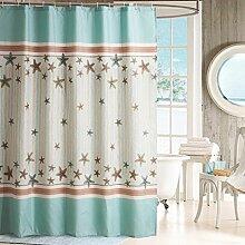 Verdickte Polyester-Bad-Schnur-Set Vorhang-Tuch Badezimmer-Toilette Wasserdichte Form-Beweis Freie Loch-Trennwand Vorhang Hängender Vorhang mit Haken ( Farbe : Blau , größe : 150*200cm )