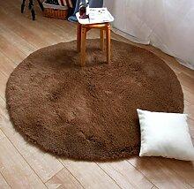 Verdickter runder Teppich Rutschfester Yogamatte Korb Korb Stuhl Teppichboden Schlafzimmer Wohnzimmer Nachttisch Teppich , brown , 120cm