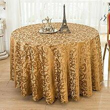 verdickung druck Polyester Tischdecke Runden tisch hochzeit Casual Dining Hotel Couchtisch Waschbar Staub Tuch , brown , round 3m