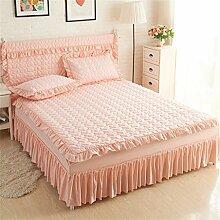 Verdickung Einzelbett Bettdecke Bett Rock Bett Covers Lace Seite Winter Blätter ( farbe : # 4 , größe : 200*220cm )