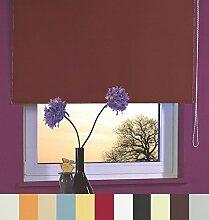 Verdunkelungsrollo Thermorollo Fenster Tür Rollo Kettenzugrollo Seitenzugrollo viele Farben Breite 60 bis 240 cm Länge 160 cm Vorhang blickdicht verdunkelnd Sonnenschutz Sichtschutz Hitzeschutz (200 x 160 cm / Braun)