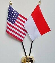 Vereinigten Staaten von Amerika & Indonesien Freundschaft Tisch Flagge Display 25cm (25,4cm)