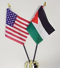 Vereinigten Staaten von Amerika & Jordan Freundschaft Tisch Flagge Display 25cm (25,4cm)
