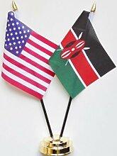 Vereinigten Staaten von Amerika & Kenia Freundschaft Tisch Flagge Display 25cm (25,4cm)