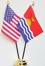 Vereinigten Staaten von Amerika & Kiribati Freundschaft Tisch Flagge Display 25cm (25,4cm)