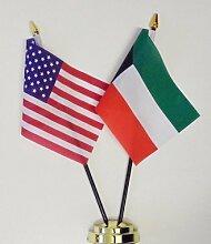 Vereinigten Staaten von Amerika & Kuwait Freundschaft Tisch Flagge Display 25cm (25,4cm)