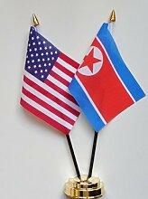 Vereinigten Staaten von Amerika & North Korea Freundschaft Tisch Flagge Display 25cm (25,4cm)