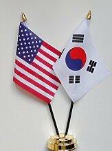 Vereinigten Staaten von Amerika & Südkorea Freundschaft Tisch Flagge Display 25cm (25,4cm)