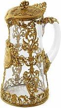 Vergoldete französische Kanne aus Bronze & Glas,