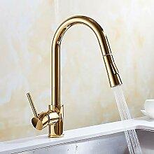 Vergoldete Kupfer Pull Wasserhahn Waschbecken