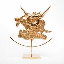 Vergoldete Stier Skulptur von Philippe Cheverny,