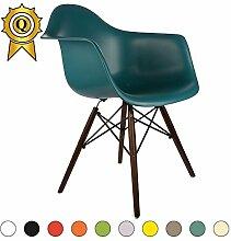 VERKAUF! 1 x Design-Stuhl Eiffel Stil Walnussholz Beine und Sitz Farbe Ocean Blau Mobistyl® DAWD-BO-1