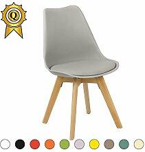 VERKAUF! 1 x Tulip inspiriertes Design Stuhl Naturholz- Beine Sitz mit Kissen Farbe grau Licht Mobistyl® TUL-LG-1