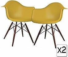 VERKAUF! 2 x Design-Stuhl Eiffel Stil Walnussholz Beine und Sitz Farbe Senf Mobistyl® DAWD-MU-2