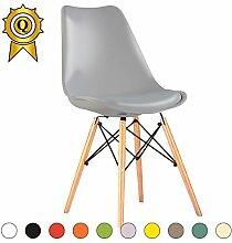 VERKAUF! 2 x Eiffel inspiriertes Design Stuhl Natürliches Holz Beine Sitz mit Kissen Farbe grau Licht Mobistyl® DSWCL-LG-2