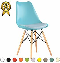 VERKAUF! 2 x Eiffel inspiriertes Design Stuhl Natürliches Holz Beine Sitz mit Kissen Farbe Blau Licht Mobistyl® DSWCL-BL-2