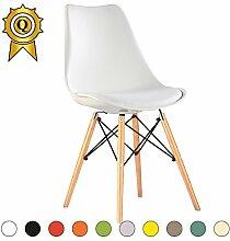VERKAUF! 2 x Eiffel inspiriertes Design Stuhl Natürliches Holz Beine Sitz mit Kissen Farbe Weiß Mobistyl® DSWCL-WH-2