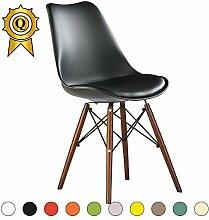 VERKAUF! 2 x Eiffel inspiriertes Design Stuhl Nussbaum Farbe Holzbeine Sitz mit Kissen Farbe Schwarz Mobistyl® DSWCD-NO-2