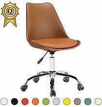 VERKAUF! 2 x Tulip Inspired Bürostuhl aus Stahl Beine mit Rädern Sitz mit Kissen Farbe Braun Mobistyl® DSO-BR-2
