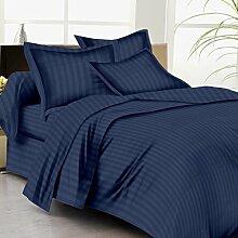 Verkauf 3-teiliges Bettbezug Set + 1Spannbetttuch Ultimate 350TC Navy Blau gestreift Kaiser 100% ägyptische Baumwolle {10Zoll Tief}–von TRP Blatt–B15