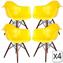 VERKAUF! 4 x Design-Stuhl Eiffel Stil Walnussholz Beine und Sitz Farbe Gelb Mobistyl® DAWD-YE-4