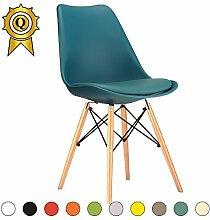 VERKAUF! 4 x Eiffel inspiriertes Design Stuhl Natürliches Holz Beine Sitz mit Kissen Farbe Blue Ocean Mobistyl® DSWCL-BO-4