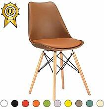 VERKAUF! 4 x Eiffel inspiriertes Design Stuhl Natürliches Holz Beine Sitz mit Kissen Farbe Braun Mobistyl® DSWCL-BR-4