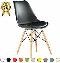 VERKAUF! 4 x Eiffel inspiriertes Design Stuhl Natürliches Holz Beine Sitz mit Kissen Farbe Schwarz Mobistyl® DSWCL-NO-4