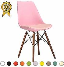 VERKAUF! 4 x Eiffel inspiriertes Design Stuhl Nussbaum Farbe Holzbeine Sitz mit Kissen Farbe Rosa Mobistyl® DSWCD-PI-4