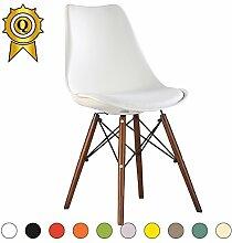VERKAUF! 4 x Eiffel inspiriertes Design Stuhl Nussbaum Farbe Holzbeine Sitz mit Kissen Farbe Weiß Mobistyl® DSWCD-WH-4