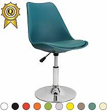 VERKAUF! 4 x Tulip inspiriertes Design Stuhl Richtbare Stahlgestell mit Sitzkissen Farbe Blue Ocean Mobistyl® DSI-BO-4