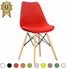 VERKAUF! 6 x Eiffel inspiriertes Design Stuhl Natürliches Holz Beine Sitz mit Kissen Farbe Rot Mobistyl® DSWCL-RE-6
