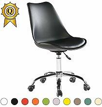 VERKAUF! 6 x Tulip Inspired Bürostuhl aus Stahl Beine mit Rädern Sitz mit Kissen Farbe Schwarz Mobistyl® DSO-NO-6