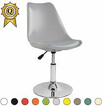 VERKAUF! 6 x Tulip inspiriertes Design Stuhl Richtbare Stahlgestell mit Sitzkissen Farbe grau Licht Mobistyl® DSI-LG-6