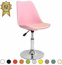 VERKAUF! 6 x Tulip inspiriertes Design Stuhl Richtbare Stahlgestell mit Sitzkissen Farbe Rosa Mobistyl® DSI-PI-6
