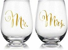 Verlobungsring und Paar 22Oz ohne Stiel Wein