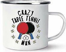 Verrückt Tischtennis Mann Stars Emaille Becher
