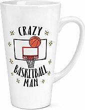 verrückte Basketball Mann 17oz groß Latte Becher Tasse