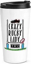 Verrückte Rugby Damen Reise Becher Tasse