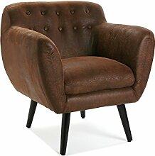 Versa 19500661 Sofa/Sessel, Vintage-Optik, Braun