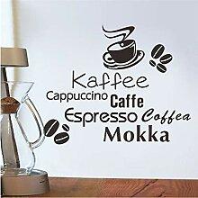 verschiedene arten von kaffee buchstaben wandkunst