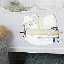 Verschiedene DIY Hello Kitty Cat Wall Sticker abnehmbare Wandspiegel Aufkleber für store Kindergarten Kinder Schlafzimmer R108, Rot, S 15 cm x 11 cm