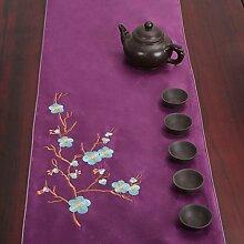 Verschönert & bestickt,tea curtain table flag/japanese-style,tea zeremonie table flag-H 33x300cm(13x118inch)