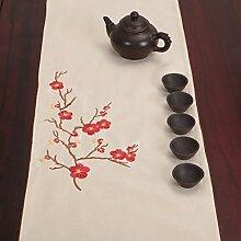 Verschönert & bestickt,tea curtain table flag/japanese-style,tea zeremonie table flag-J 33x300cm(13x118inch)